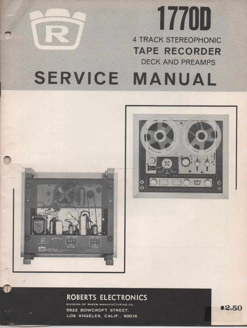 1770D Reel to Reel Service Manual  ROBERTS