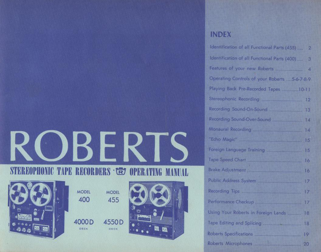 440 455 4000D 4550D Reel to Reel Owners Operating Instruction Manual  ROBERTS