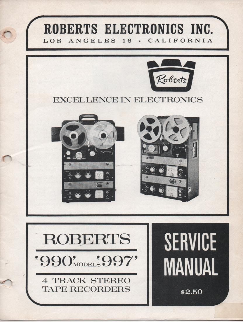 990 997 Reel to Reel Service Manual  ROBERTS