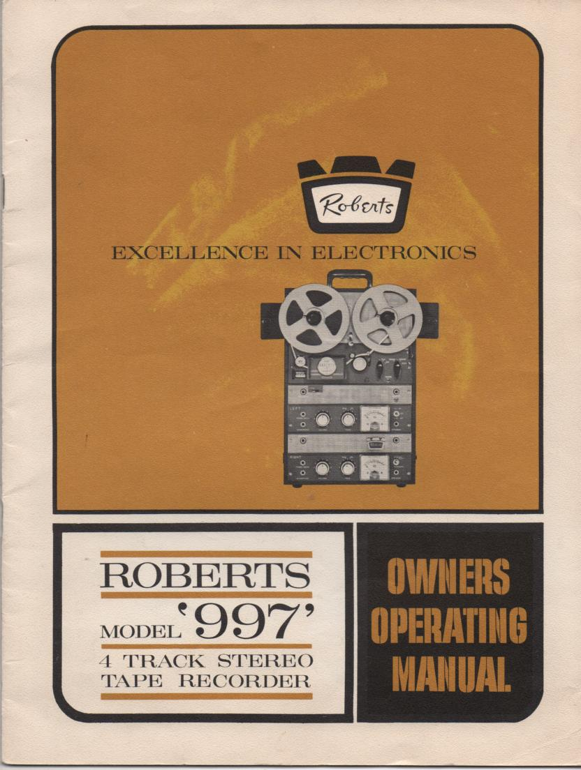 997 Reel to Reel Operating Instruction Manual
