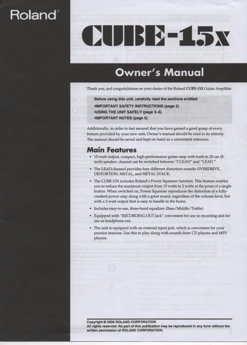 Cube 15X Guitar Amplifier Owners Manual