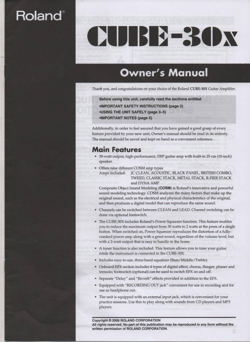 Cube 30x Guitar Amplifier Owners Manual