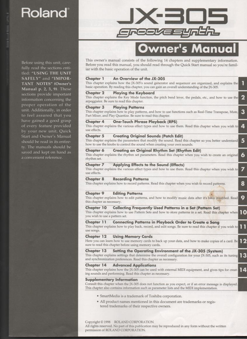 JX-305 Groovesynth Main Owners Manual..  264 Pages