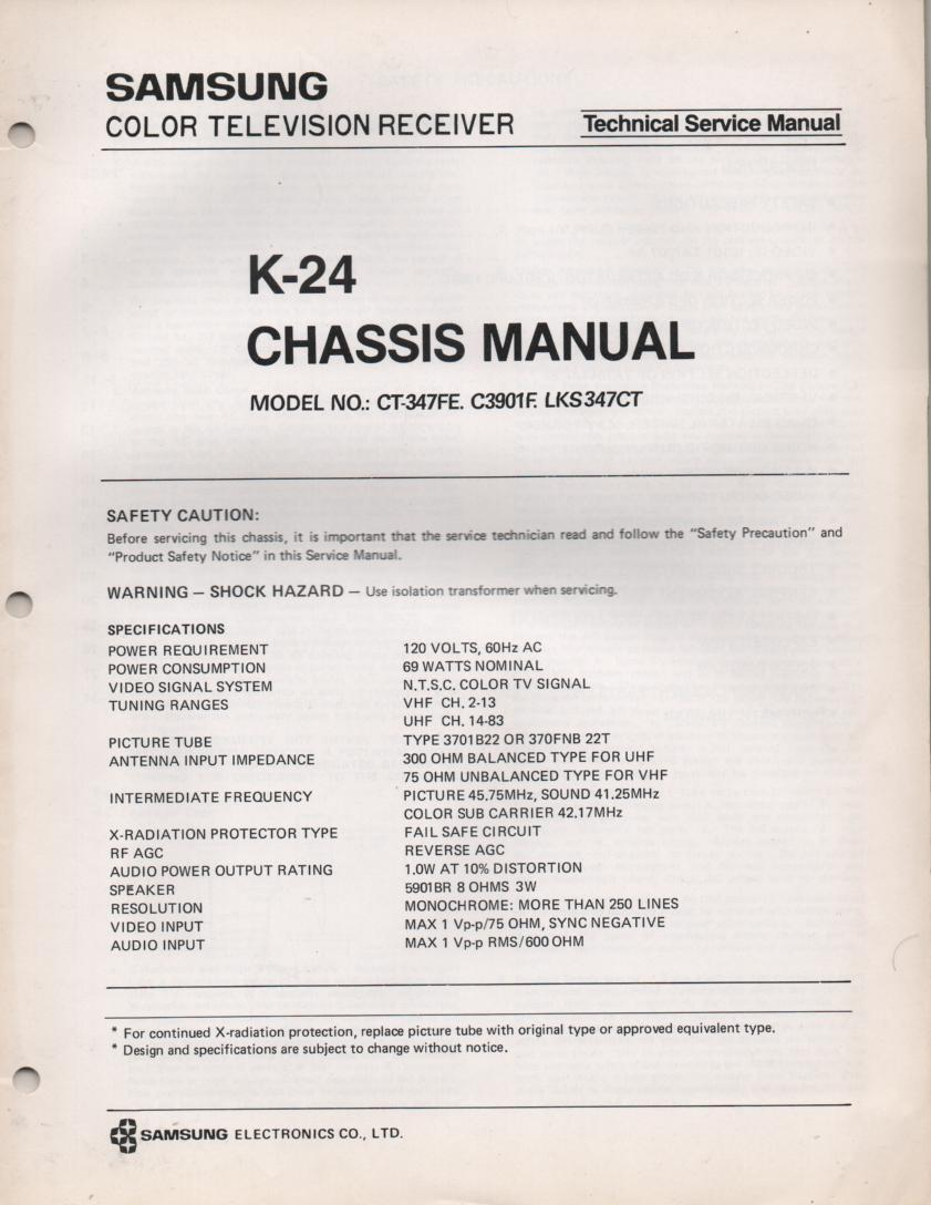 C3901F CT347FE LKS347CT Television Service Manual K-24 Chassis Manual