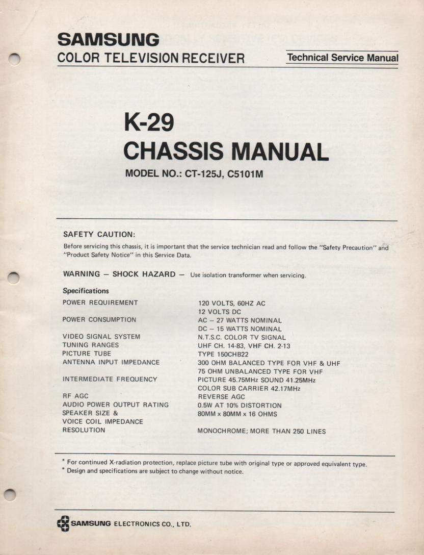 C5101M CT125J Television Service Manual K-29 Chassis Manual