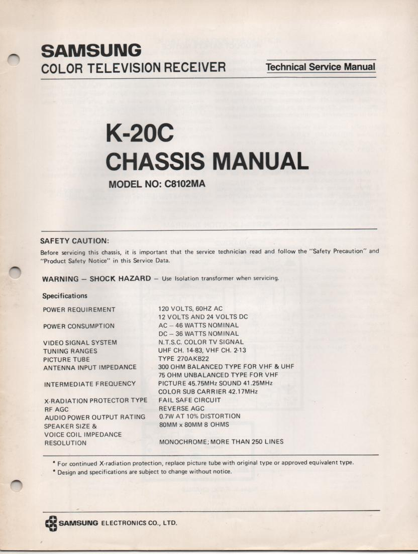 C8102MA Television Service Manual K20C Chassis Manual