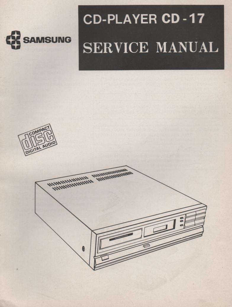 CD-17 CD Player Service Manual