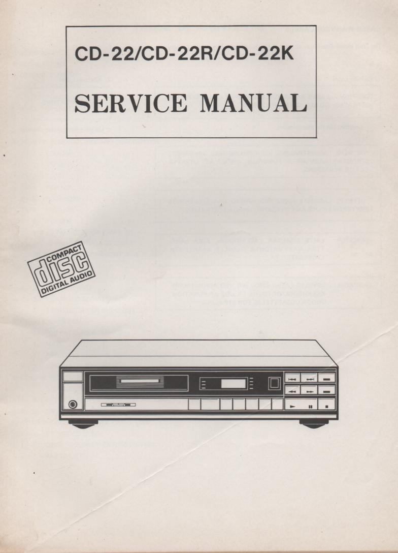 CD-22 CD-22R CD-22K CD Player Service Manual