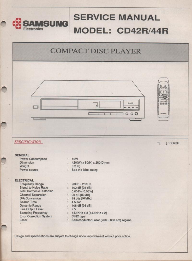 CD-42R CD-44R CD Player Service Manual