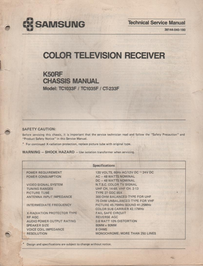CT233F TC1033F TC1035F Television Service Manual K50RF Chassis Manual.