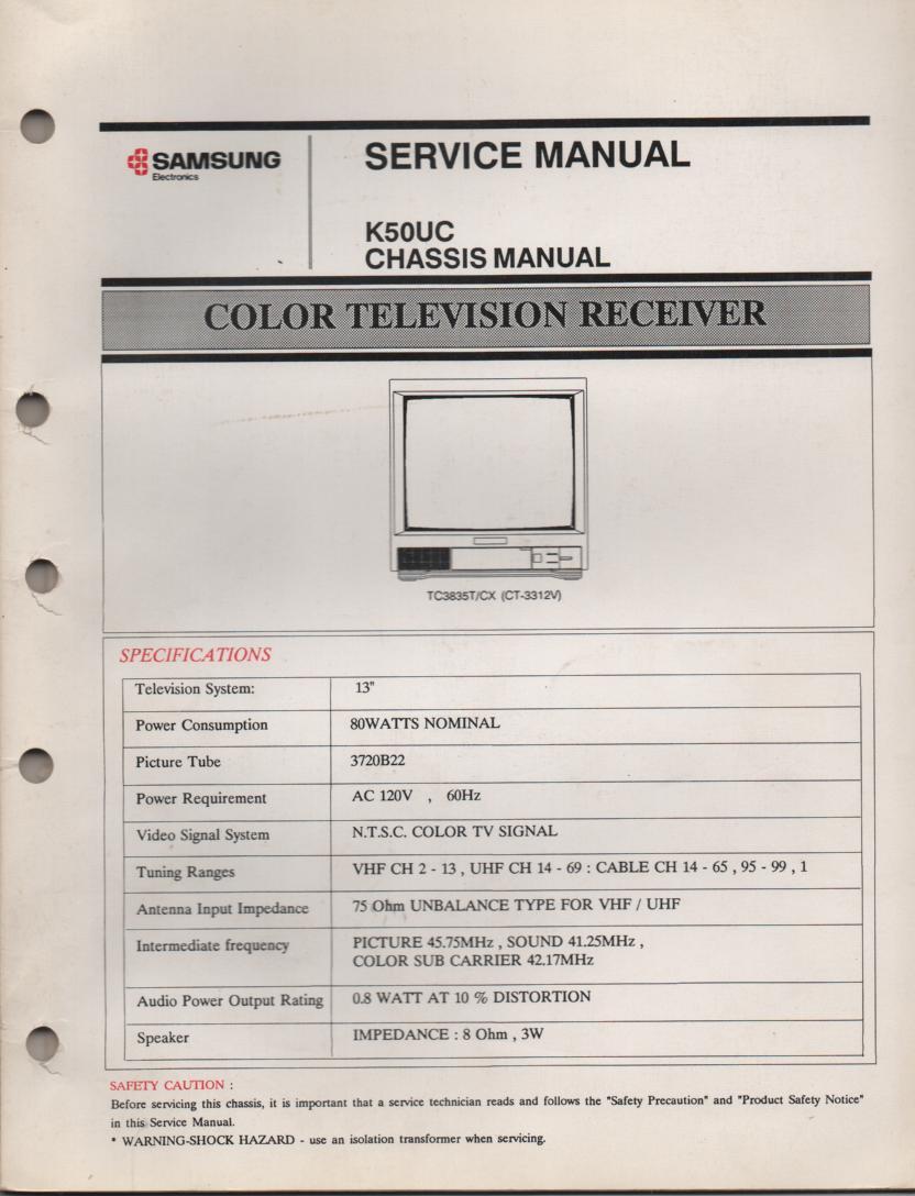 CT3312V TC3835T TC3835CX Television Service Manual K50UC Chassis Manual