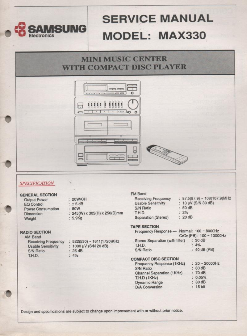 MAX330 Stereo System CD Player Service Manual