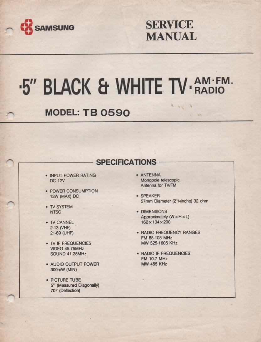 TB0590 Television AM FM Radio  Service Manual