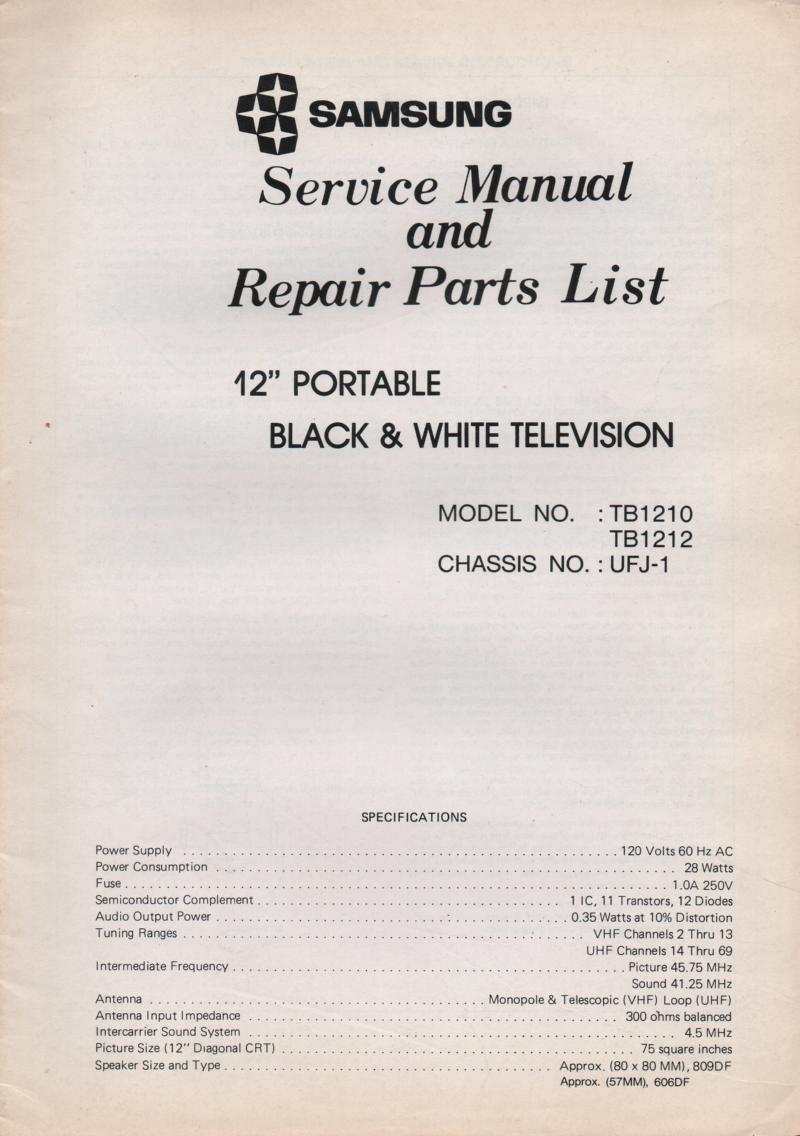 TB1210 TB1212 Television Service Manual UFJ-1 Chassis Manual