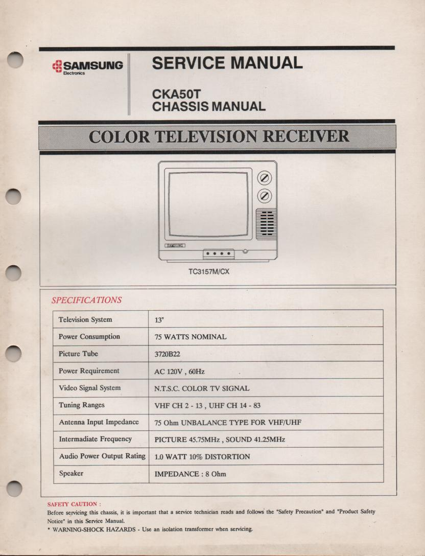 TC3157M TC3157CX Television Service Manual CKA50T Chassis Manual
