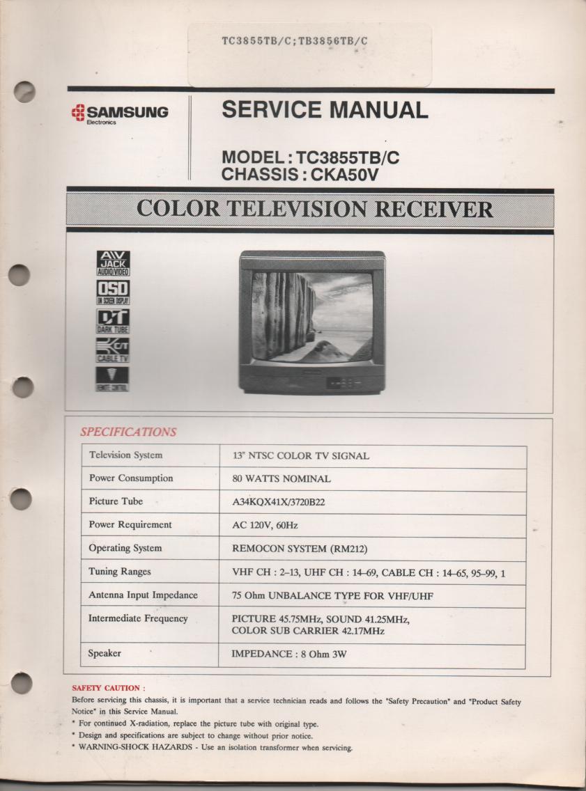 TC3855TB TC3855TC TC3856TB TC3856TC Television Service Manual CKA50V Chassis Manual