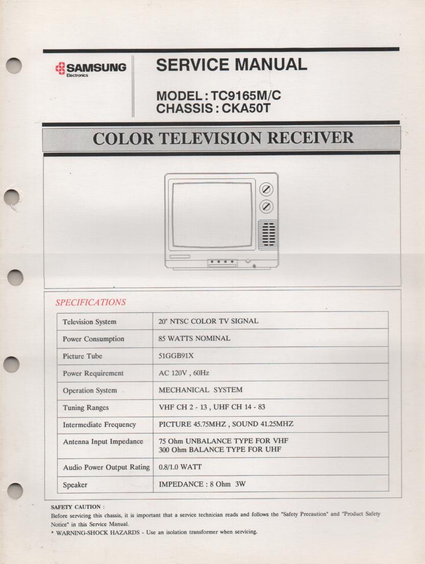 TC9165M TELEVISION Service Manual CKA50T Chassis Manual