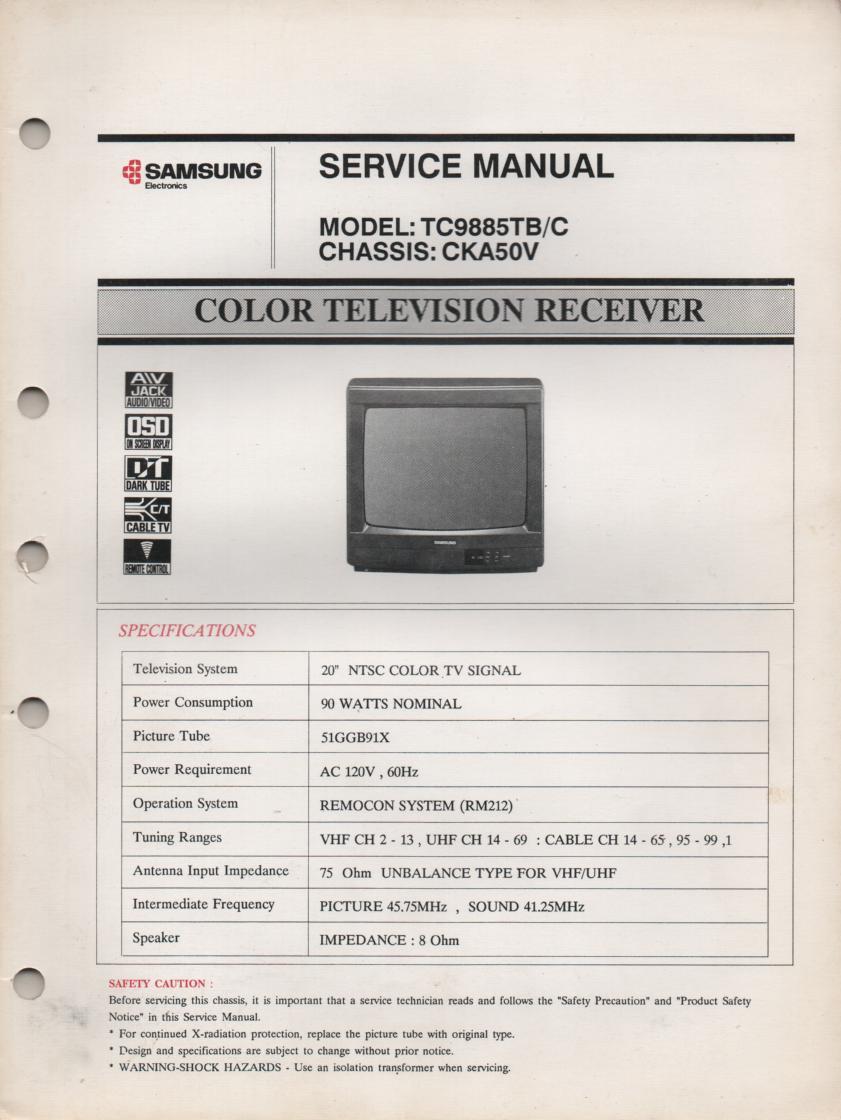 TC9885TB TC9885TC Television Service Manual CKA50V Chassis Manual