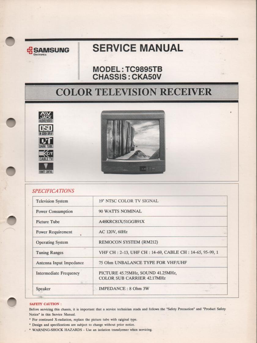TC9895TB Television Service Manual CKA50V Chassis Manual