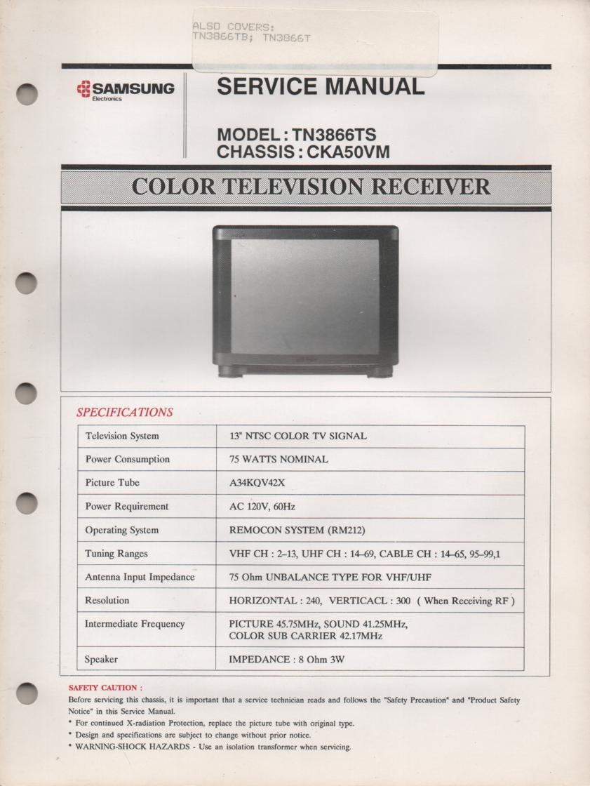 TN3866T TN3866TS Television Service Manual CKA50VM Chassis Manual
