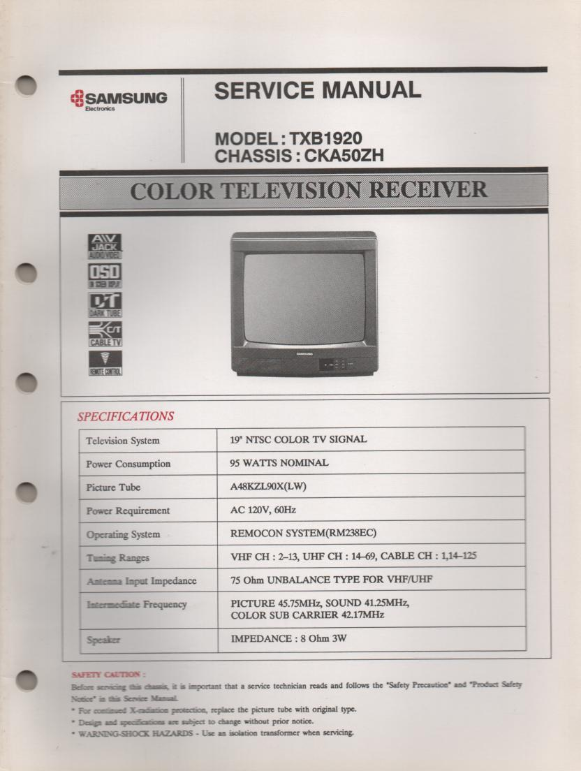 TXB1920 Television Service Manual CKA50ZH Chassis Manual
