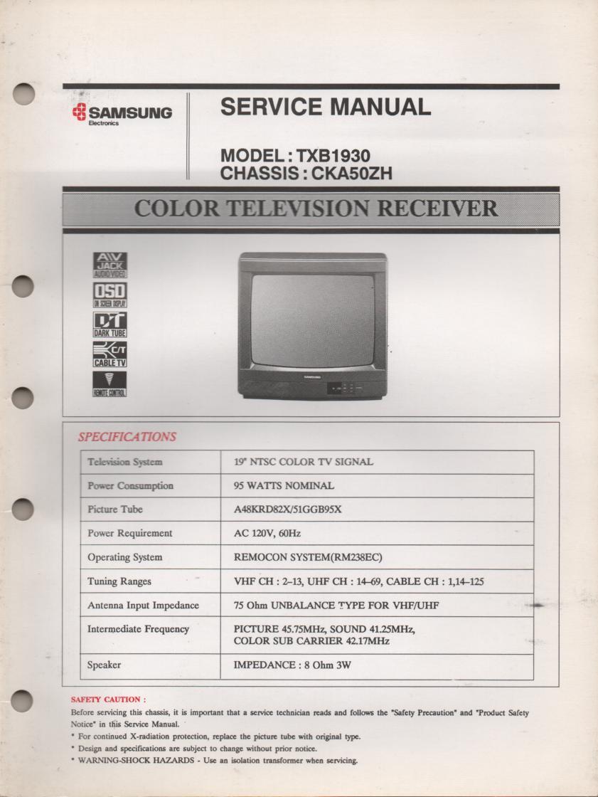 TXB1930 Television Service Manual CKA50ZH Chassis Manual