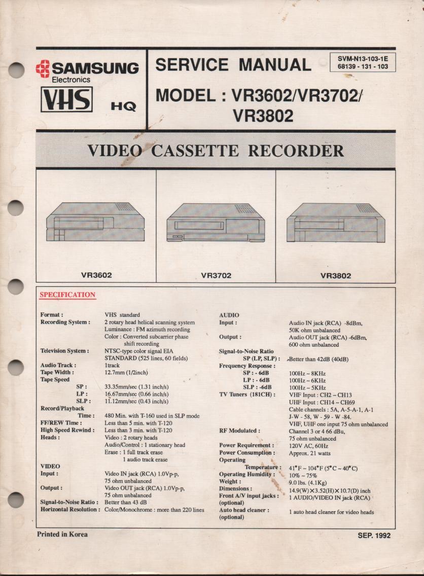 VR3602 VR3702 VR3802 VCR Service Manual