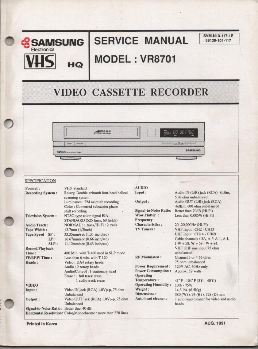 VR8701 VCR Service Manual