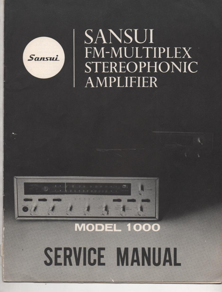 1000 Amplifier Service Manual.. Contains AM FM alignments, parts list, schematic and picture diagram..