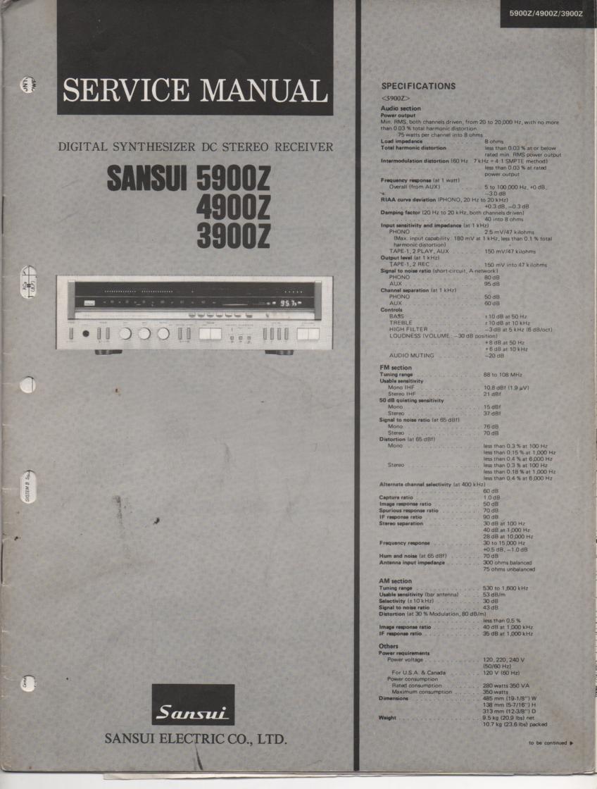 3900Z 4900Z 5900Z Receiver Service Manual