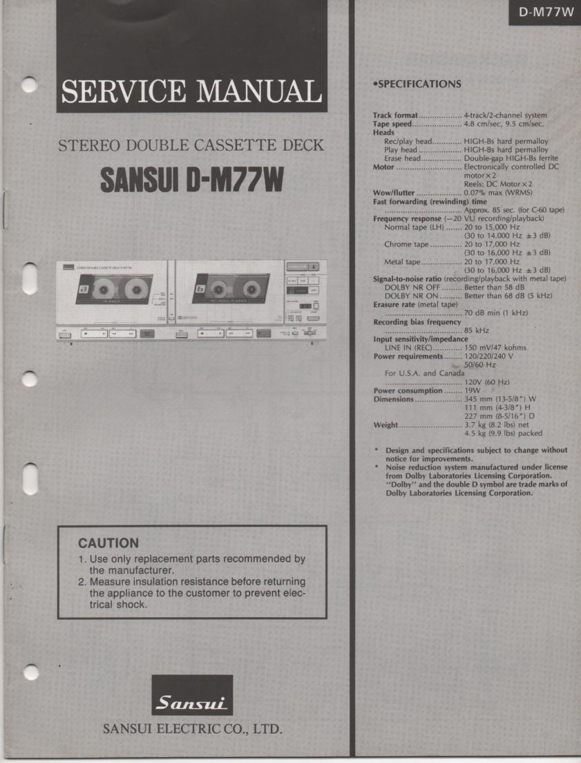 D-M77W Cassette Deck Service Manual