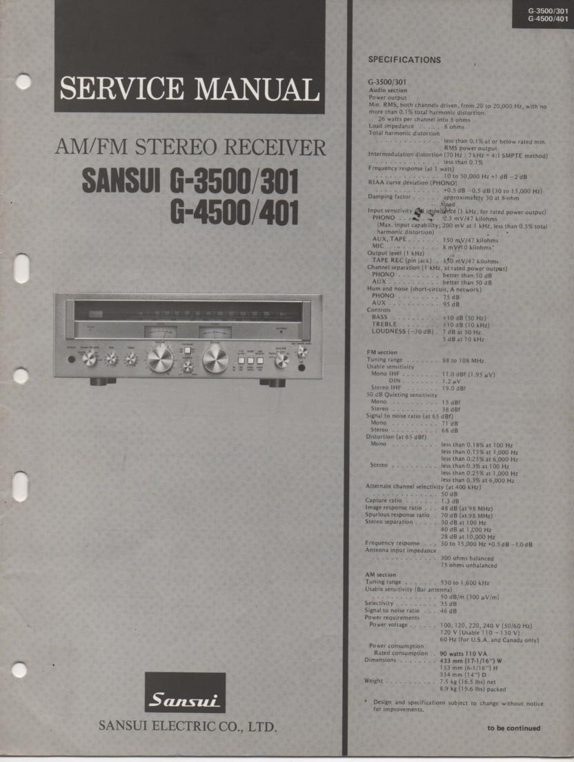 G-301 G-401 G-3500 G-4500 Receiver Service Manual