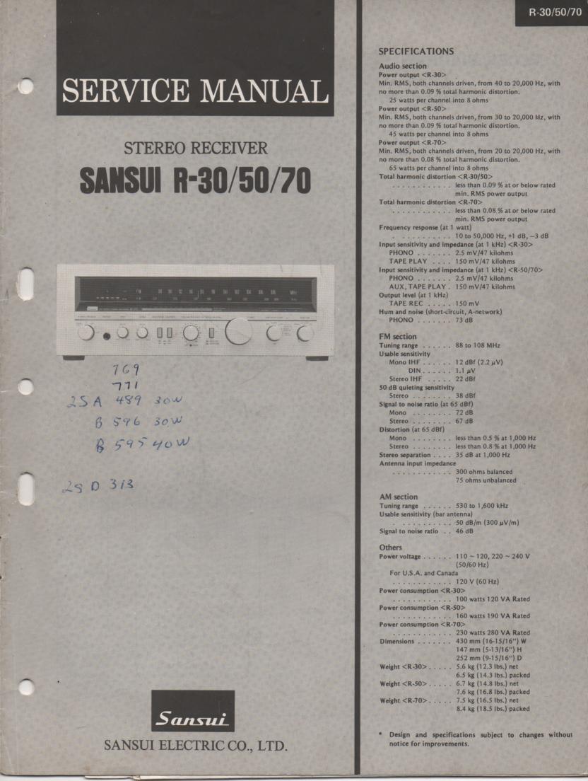 R-30 R-50 R-70 Receiver Service Manual