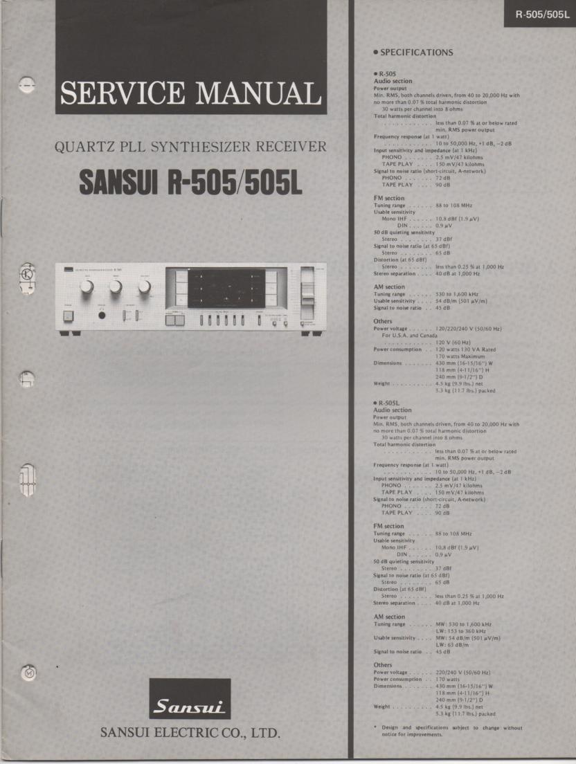 R-505 R-505L Receiver Service Manual