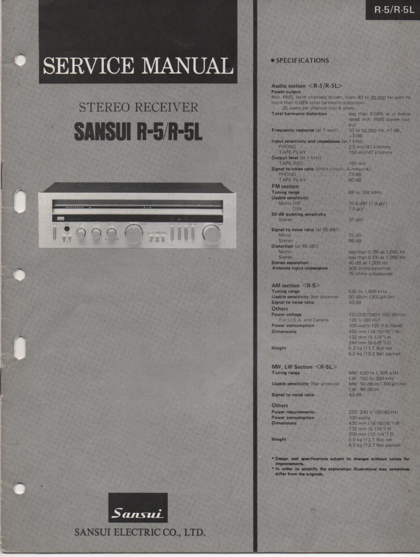R-5 R-5L Receiver Service Manual
