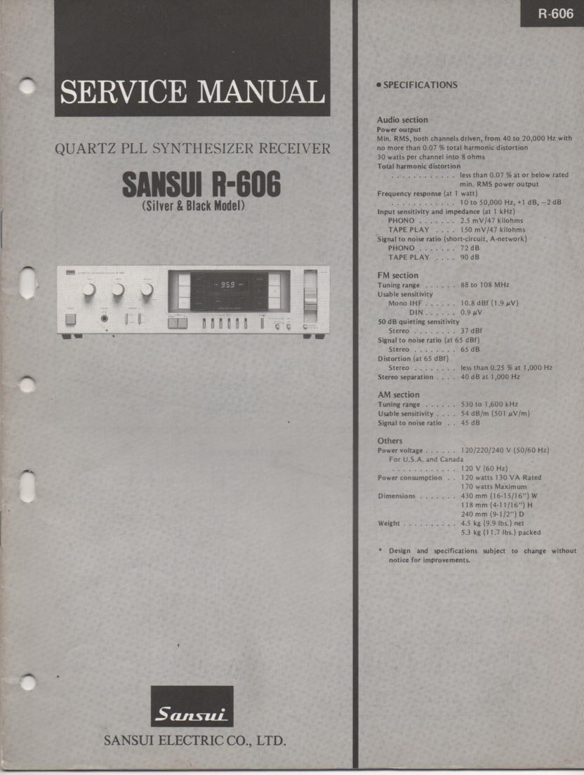 R-606 Receiver Service Manual