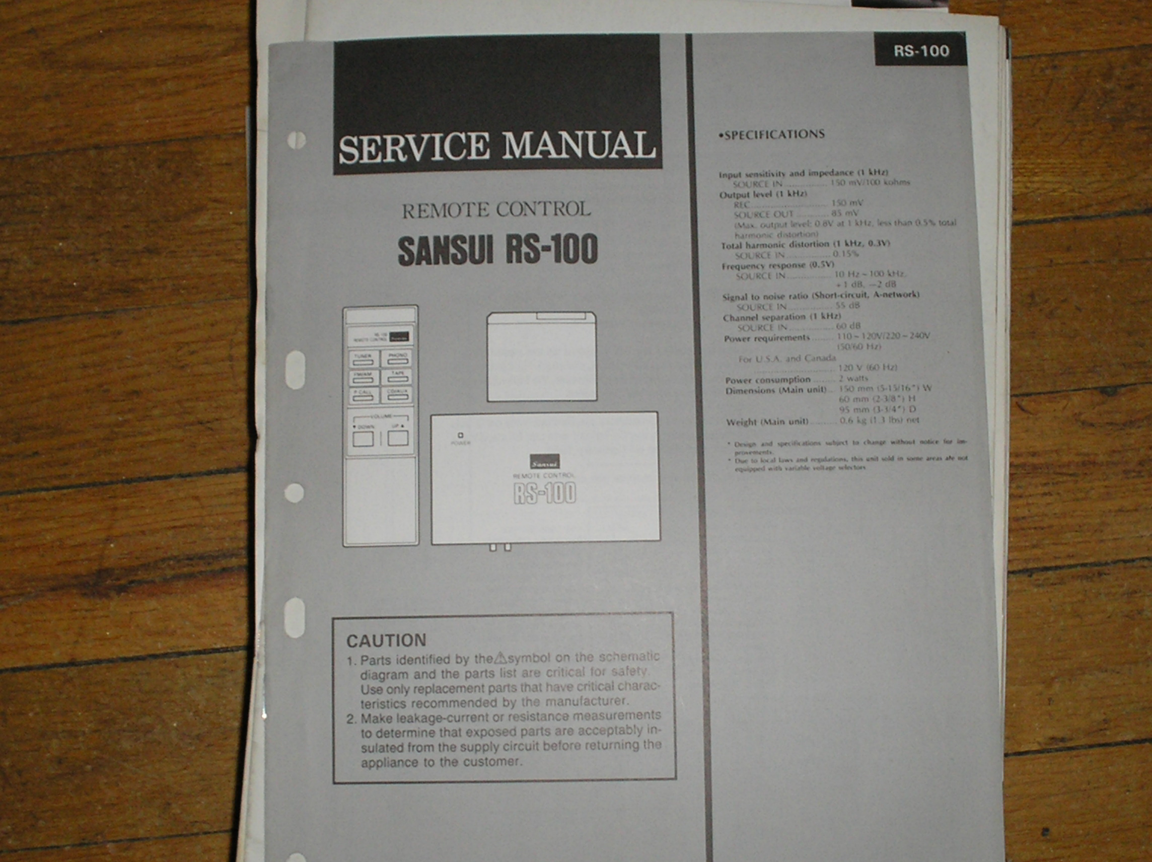 RS-100 Remote Control System Service Manual