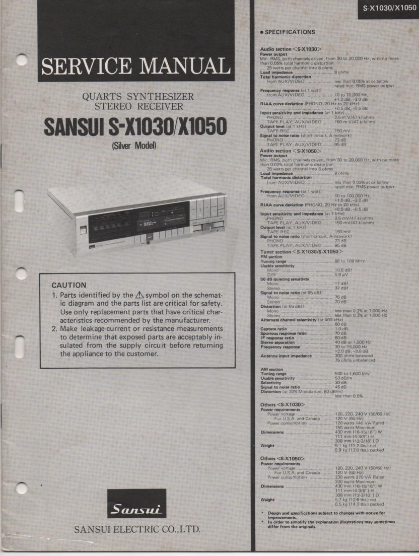 S-X1030 S-X1050 Receiver Service Manual