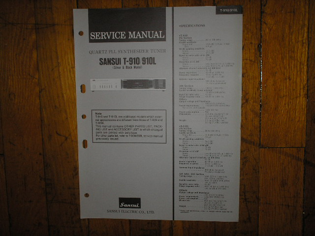 T-910 T-910L Tuner Service Manual