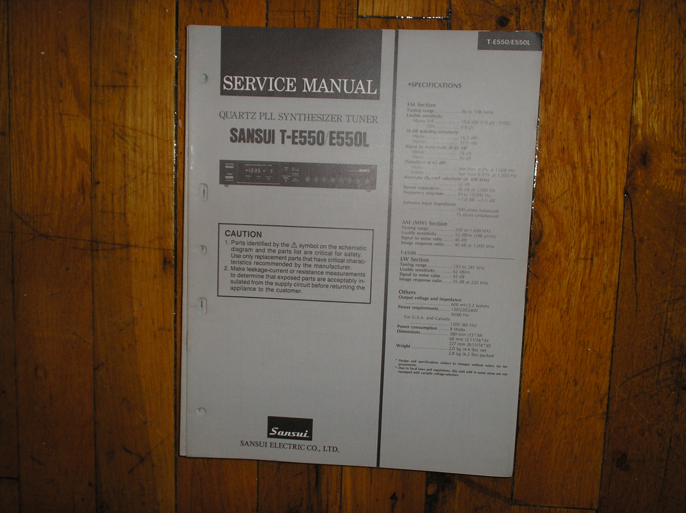 sansui t e550 t e550l tuner service manual. Black Bedroom Furniture Sets. Home Design Ideas