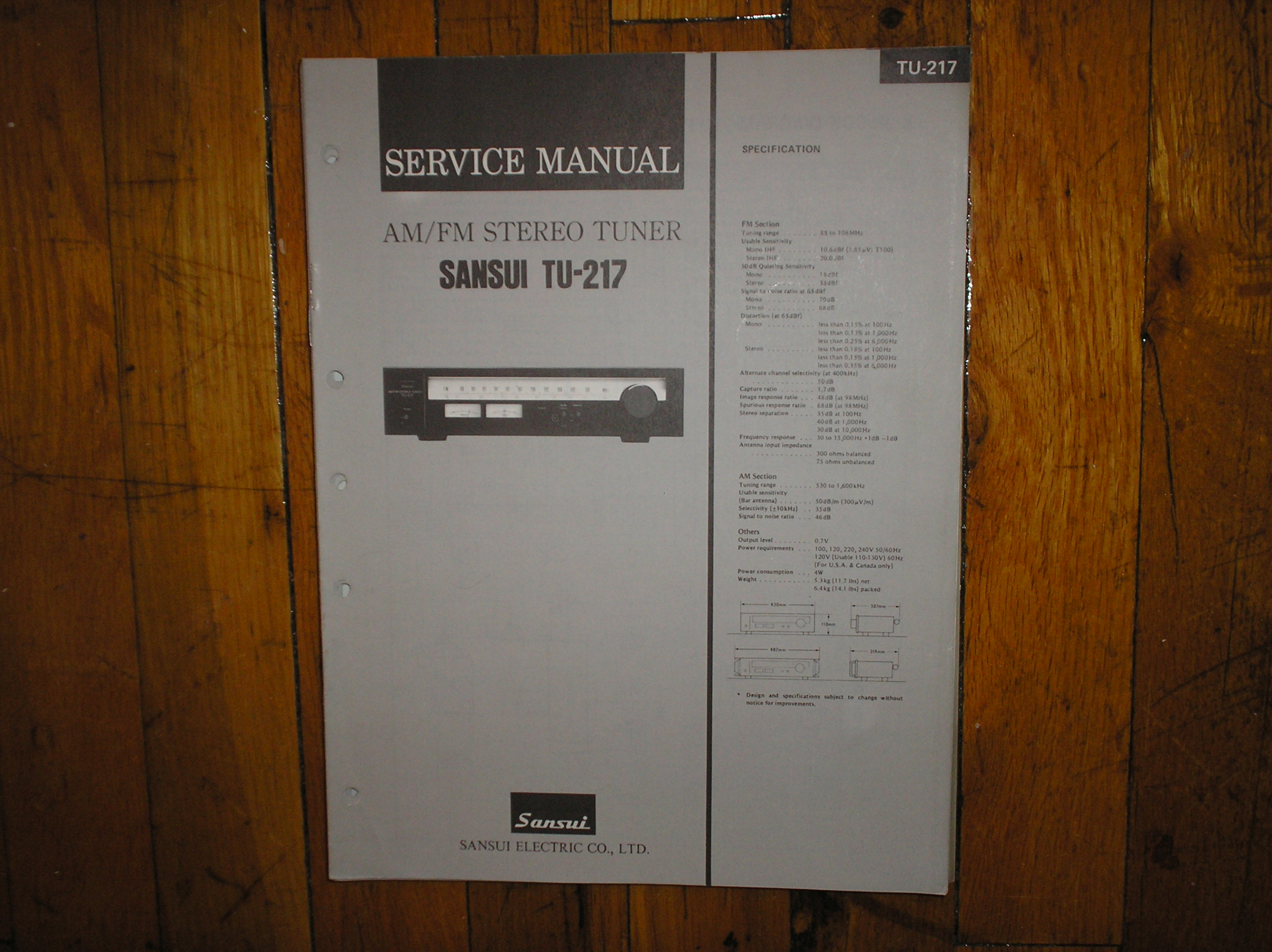 TU-217 Tuner Service Manual