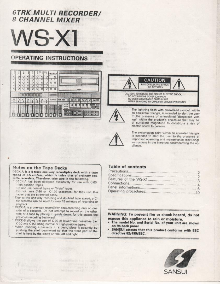WS-X1 Cassette Studio Recorder Owners Operating Instruction Manual