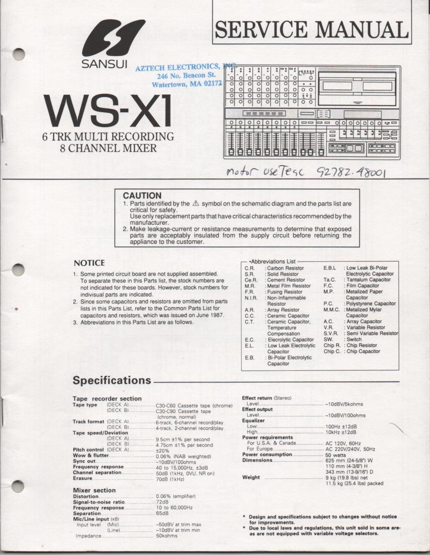 WS-X1 Cassette Studio Recorder Service Manual