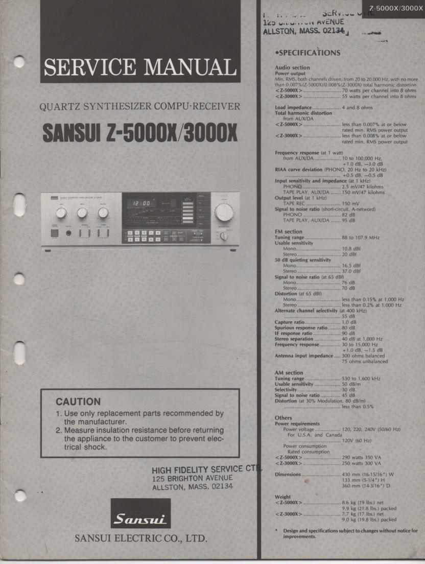 Sansui Z-3000X Z-5000X Receiver Service Manual
