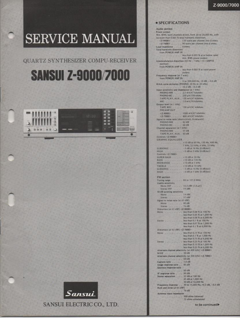 Z-7000 Z-9000 Receiver Service Manual