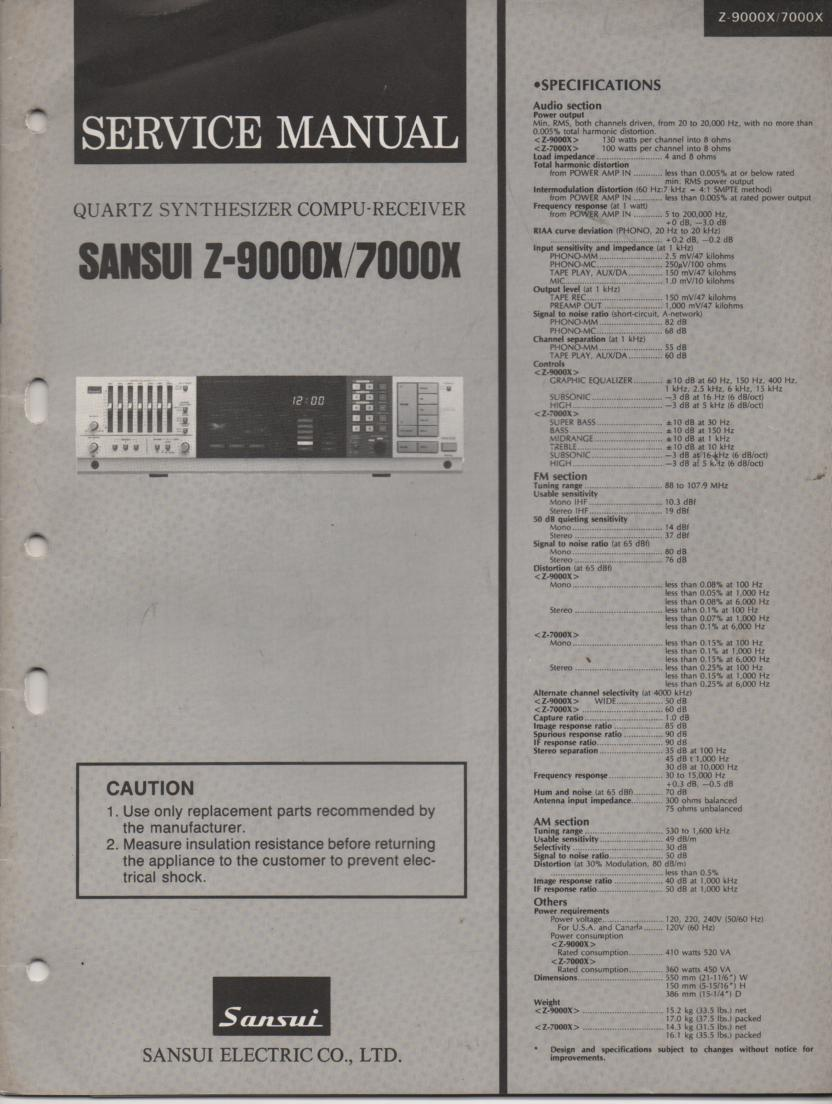 Z-7000X Z-9000X Receiver Service Manual