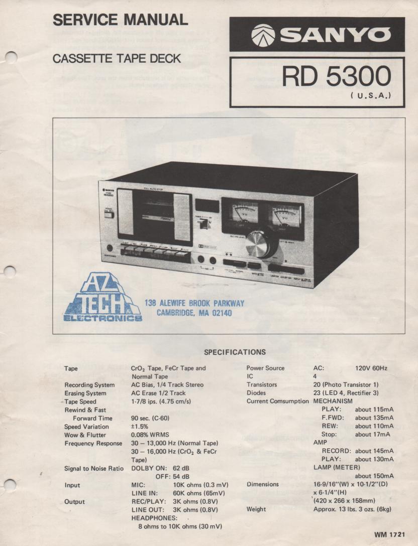 RD5300 Cassette Deck Service Manual
