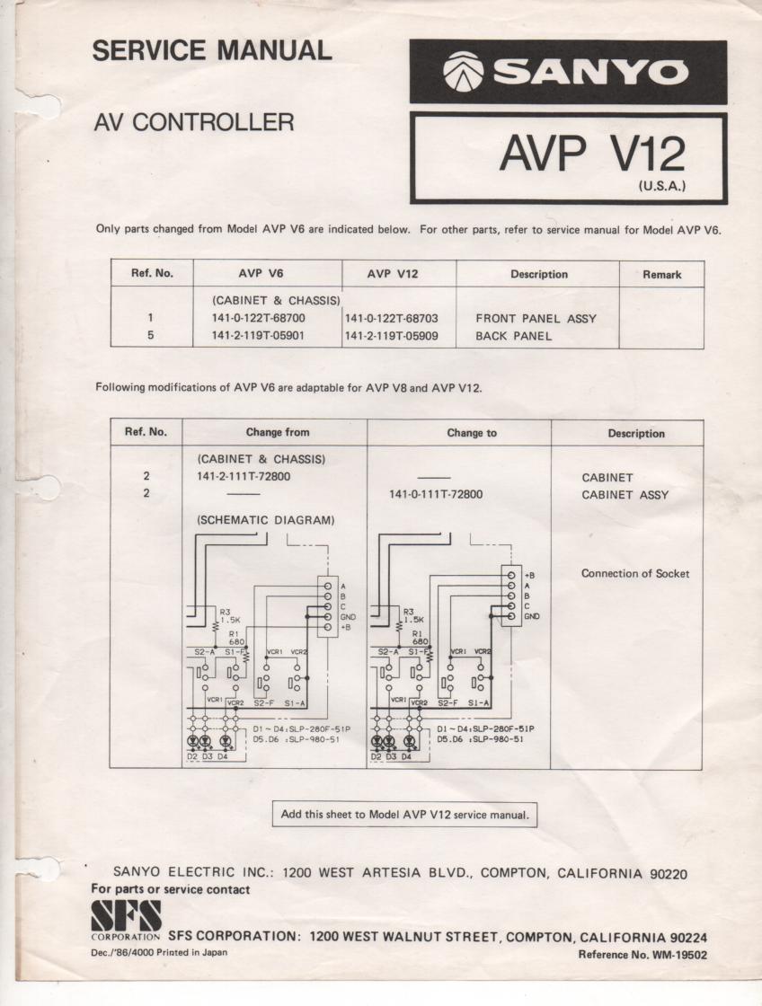 AVP V12 Audio Video Controller Service Manual