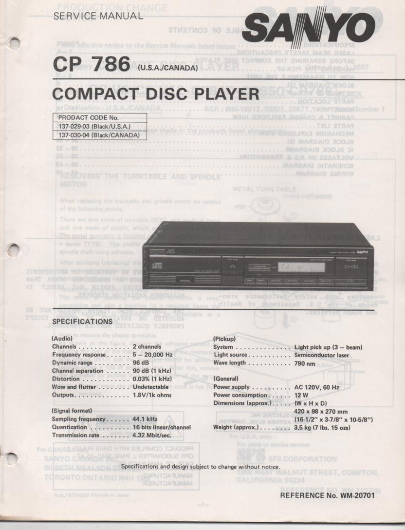 CP786 CD Player Service Manual