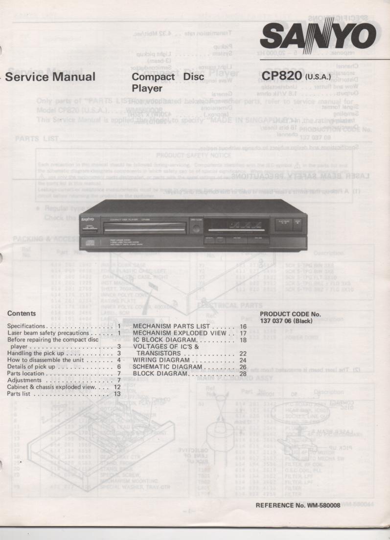 CP820 CD Player Service Manual